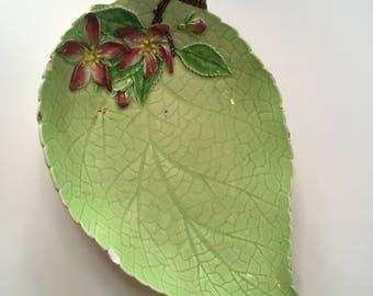Antique Porcelain Carlton Ware Green Leaf Bowl - Trinket Dish - Fruit Bowl - Candy Dish - Jewelry Bowl