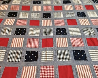 """Vintage Patriotic pieced fabric 2 1/2 yards long by 44"""" wide"""