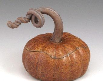 Pumpkin Jar, Handmade, Pottery, Stoneware, John Bauman SHIPPING INCLUDED