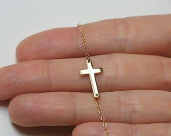 Cross Necklace, Gold Cross Necklace, 14k Gold Cross Necklace, Cross Necklace Gold, Necklace Cross, Sideways Cross Necklace, Sideways Cross