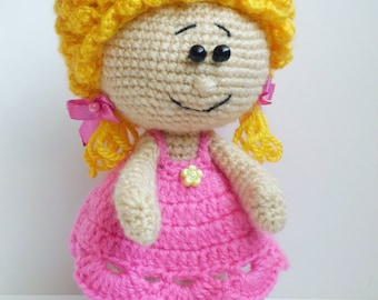 Crochet doll knitted toy blonde doll Art Dolls girls gift Amigurumi doll christmas gift cute doll collectible doll decorative Kids gift