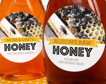Custom Busy Bees honey bottle & jar labels, round honeycomb honey jar stickers personalized with YOUR text, backyard beekeepers gift