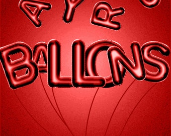 Red Ballon Letters, Red Valentine Clipart, Red Balloon Alphabet, Alphabet Clip Art, Digital Alphabet, Red Clipart Letters, Commercial Use