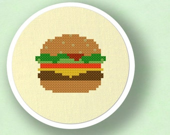 Hamburger Cross Stitch Pattern. Food Cross Stitch, Modern Simple Cute Cross Stitch Pattern PDF File. Instant Download