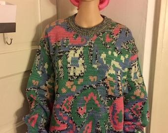 Multicolored Marled Oversized Sweater   Medium