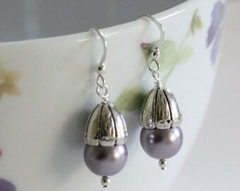 Lilac Pearl Drop Earrings,  Swarovski Pearl Earrings, Handmade Pearl Earrings, Large Pearl earrings, Large drop earrings, Acorns