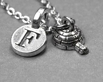 Igloo necklace, Igloo charm, tiny igloo, igloo jewelry, personalized jewelry, personalized charm, initial necklace, initial charm, monogram