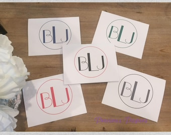 Personalized monogrammed notecards monogrammed note cards traditional monogram graduation gift teacher gift