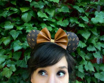 Designer Inspired Minnie LV Leather Couture Mouse Ears