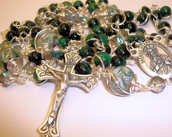 Unbreakable Rosary, catholic rosary, Mans rosary, Sacred Heart of Jesus,  green tiger eye, rosary beads, 5 decade, Indylin ,Abundant grace