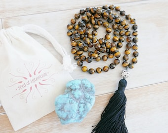 Mens Mala Necklace - Tigers Eye Mala Necklace/Mens Wrist Mala/Mala/Mala Beads/Tiger Eye/Men's Beaded Necklace/Tassel Necklace/Mens Jewelry/