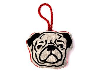 Pug Print Christmas Ornament