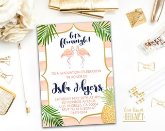 Let's Flamingle! Flamingo Graduation Invitation - Printable Digital Invite