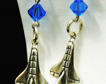 sapphire crystal and shuttle sterling silver earrings