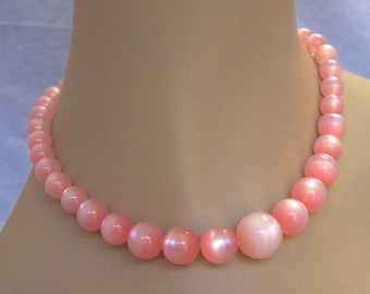 Vintage Pink Lucite  Moonglow  Moon Glow Graduated  Bead Necklace Fifties