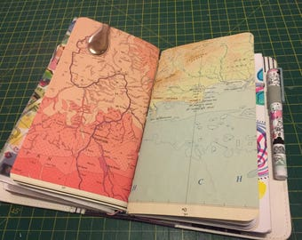 Moleskine Cahier Large Size Traveller's Notebook Insert Hand-Stitched with Map Cover