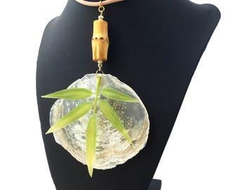 Handmade Leaf Necklace, Capiz Flat Shell, Bamboo, Tropical, Goddess, Tribal, Beach, Sexy Choker, Coachella, Unique (Seaside Safari Necklace)