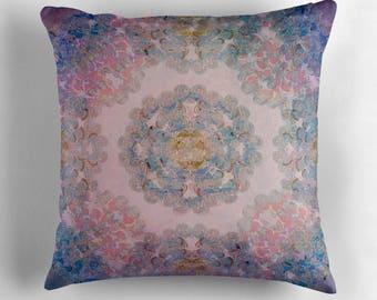 decorative pillow cover- home decor- purple-blue-pink- mandala design- modern bohemian home- bedroom decor