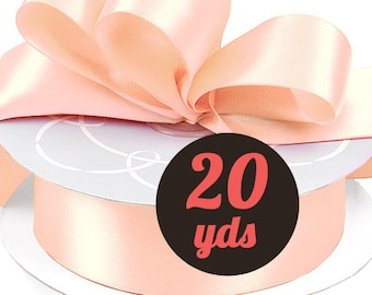 "Satin Peach Ribbon - 7/8"" wide at 20 yards"