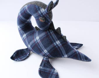 Nessie // blue plaid, collectible, fiber art, loch ness monster, plushy, doll, creature cryptid, pillow, plesiosaur, dinosaur