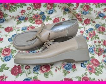 Beige granny shoes, Rieker, size UK 6 / EU 39, lace-up shoes