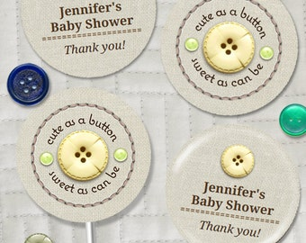"""Cute as a Button Baby Shower Party 2"""" Round Images, Editable PDF Instant Download for stickers, tags, buttons, cupcake toppers"""