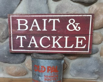 Bait and tackle sign, wooden, fishing sign, river house, lake house bait and tackle sign