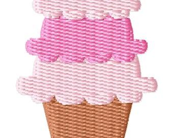 Triple Scoop Ice Cream Cone Mini Embroidery Design