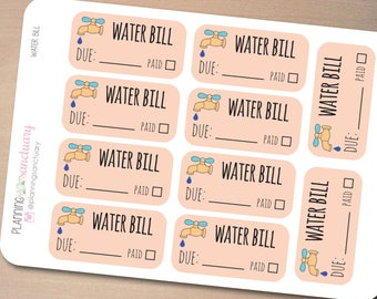 Water Bill Planner Stickers perferct for Erin Condren, Kikki K, Filofax and all other Planners