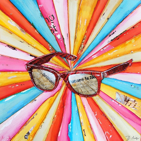 ART PRINT or CANVAS Sunglasses sun shades bright inspirational colorful beach summer home wall decor positive retro painting gift,All Sizes