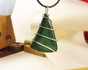 """Green Pendant with Malachite and Sterling Silver - """"Enchanted Woods"""""""