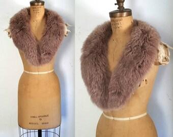 RARE Purple Fox Fur Collar / 1980s