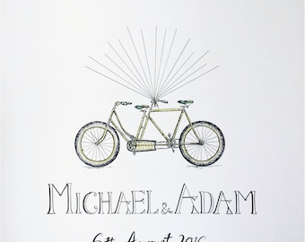 Personalised Custom Hand Drawn Illustrated Wedding Guest Art Fingerprint Balloon Tandem Bike Bicycle A3