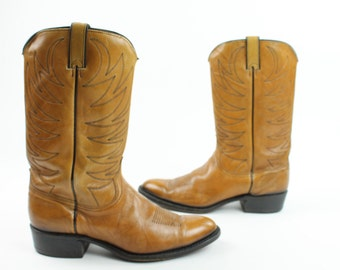 Vintage 80s Leather Boots Wrangler Cowboy Western Caramel Brown Tan Mens Shoes 11 1980s