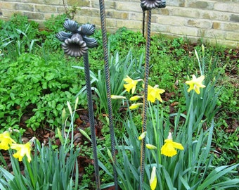 3 Daffodil Plant Stakes, Metal, Decorative, Forged, Plant Supports, Bare Metal Flowers