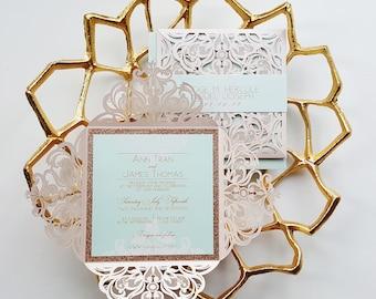 Blush Wedding Invitations laser cut blush gold elegant wedding invitation elegant laser cut card sample blush and gold {Begonia design}