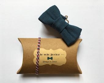 Kids adjustable blue woven cotton bowtie / bow tie