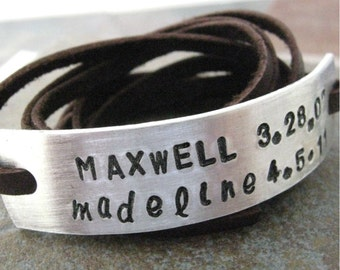 Personalized Mother's Bracelet, choose leather wrap, text, symbols, and font, mothers day gift, 30 characters max, 15 per line, read listng