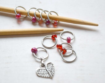 Knitting Stitch Marker Set - Wings of Love / Snag Free / Small Medium Large Sizes Available