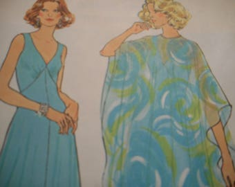 Vintage 1970's Simplicity 7183 Poncho and Dress Sewing Pattern Size 12 Bust 34