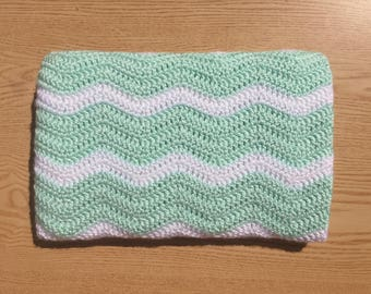 Green and White Chevron Baby Blanket/ Green Crochet Baby Blanket/ Ripple Baby Blanket/ Gender Neutral Baby Blanket