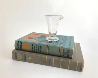 Graduated Beaker- Vintage Small Embossed Clear Glass Beaker - Lab Beaker - Science - Industrial - Repurpose Lab Beaker //LN4