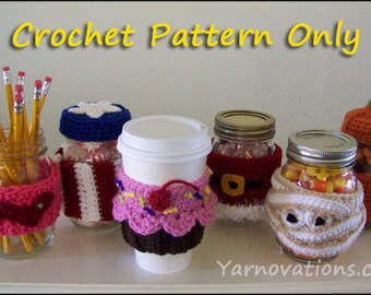 Crochet Coffee Cup Cozy and Mug Cozy Collection - PATTERN