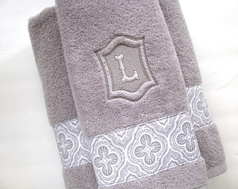 Personalized Towels, hand towel, bathroom, personalized gift, embroidered  towels, grey bathroom