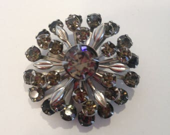 Vintage 1960's Silver Grey Rhinestone Brooch,  Prong Set Stones and Silvertone Leaves, Layered Rhinestone Design with Riveted Construction