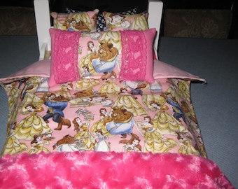 6 Piece American Girl Beauty And The Beast Bedding For 18 Inch Dolls Bedspread Four Pillows And Fluffy Pink Throw
