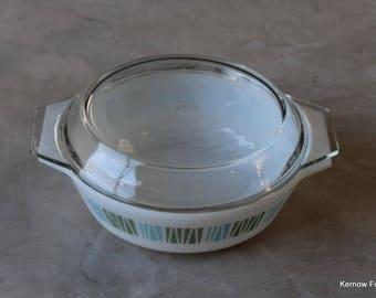 JAJ Blue & White Pyrex Casserole Dish