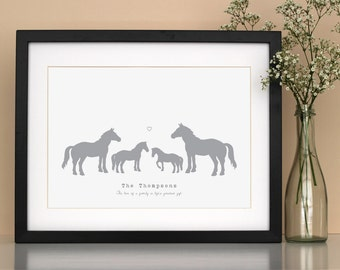 Family poster print horses - personalised family art - gift for horse lover - horse poster print - new parents gift - horse gift
