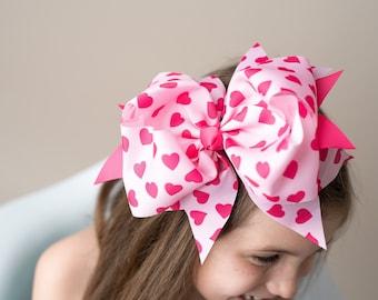 Giant hair bows, 8 inch bows, over the top bows, pink hair bows, heart hair bows