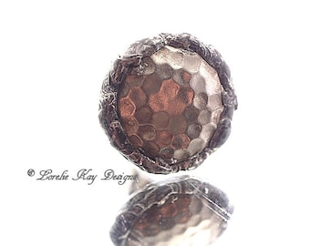 Soldered Hammered Metal Ring Fine Silver Plated Lorelie Kay Designs